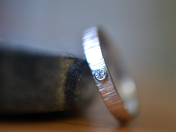 Custom Engraved Sterling Silver Wedding Band with Diamond