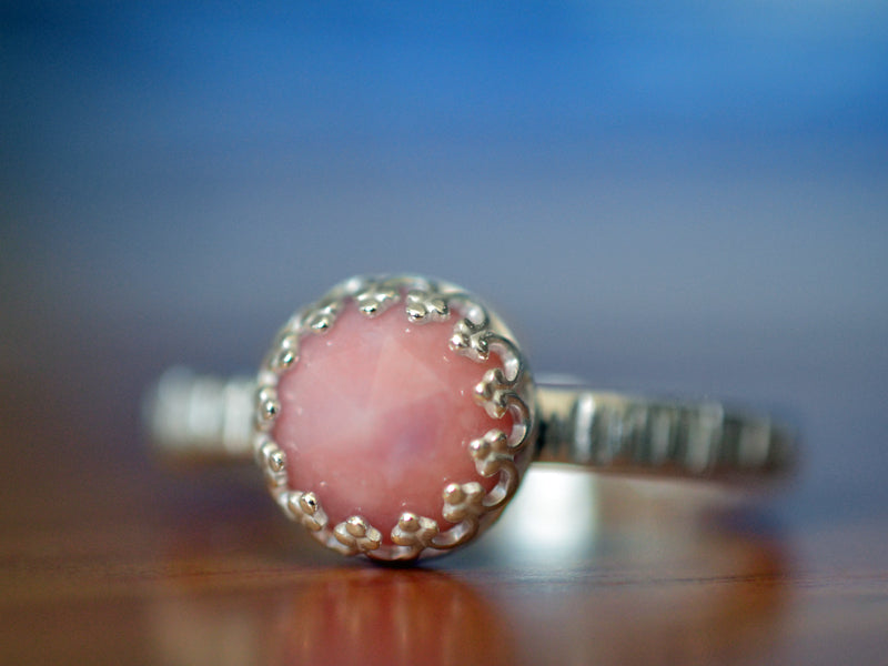 Rustic Sterling Silver Pink Opal Engagement Ring