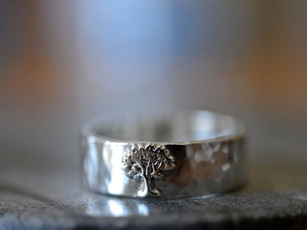 Sterling Silver Tree Charm Wedding Band with Engraving