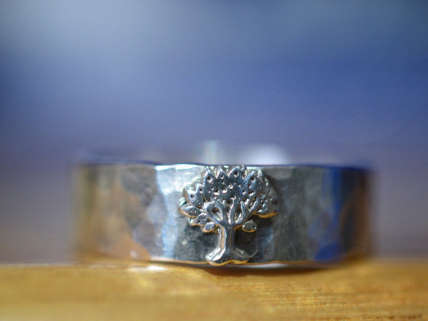 Sterling Silver Woodland Tree Wedding Band