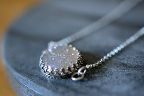 Dainty 14mm White Druzy Agate Necklace with Silver Chain