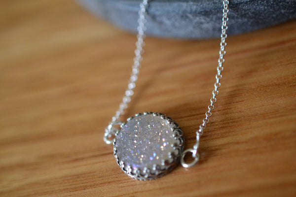Minimalist 14mm White Druzy Necklace in Sterling Silver