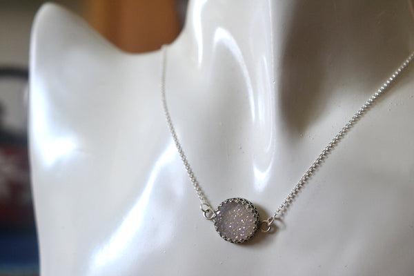 Dainty White Druzy Agate Necklace in Sterling Silver