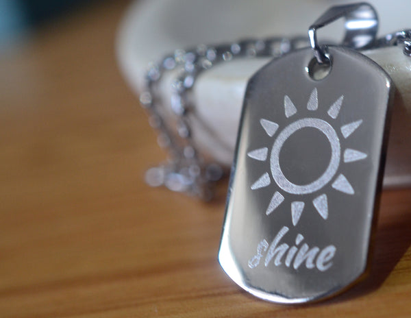 Sun Shine Inspirational Stainless Steel Dog Tag Pendant