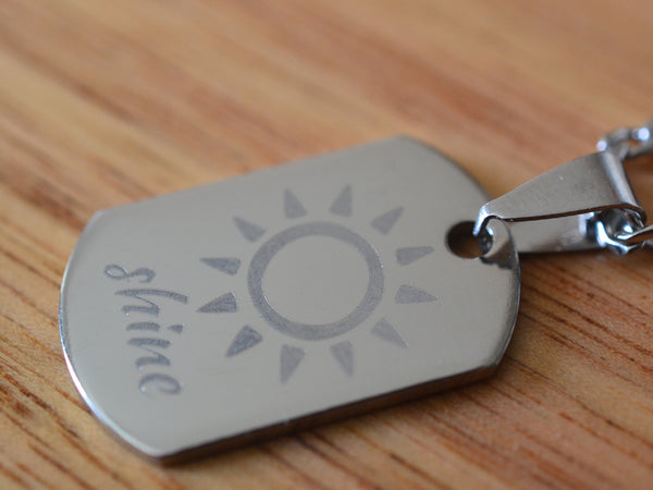 Mini Dog Tag Necklace in Stainless Steel With Engraving