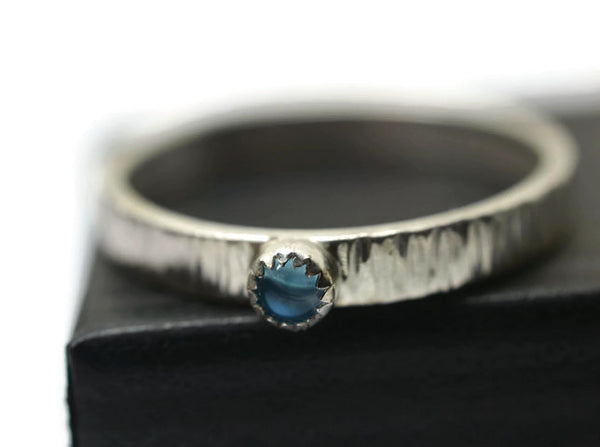 Handforged Engravable Swiss Blue Topaz Tree Bark Ring