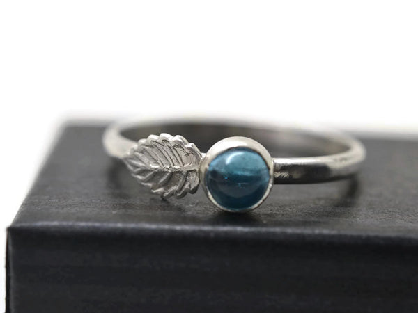 Silver Leaf & Swiss Blue Topaz Ring