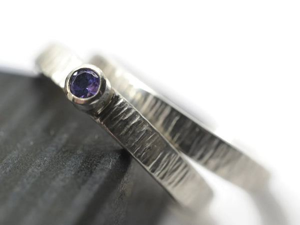 Handmade Silver Tree Bark Tanzanite Bridal Ring Set