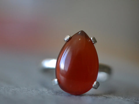Natural Carnelian Statement Ring in Sterling Silver