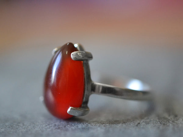 Pear Shaped Red Carnelian Ring in Sterling Silver