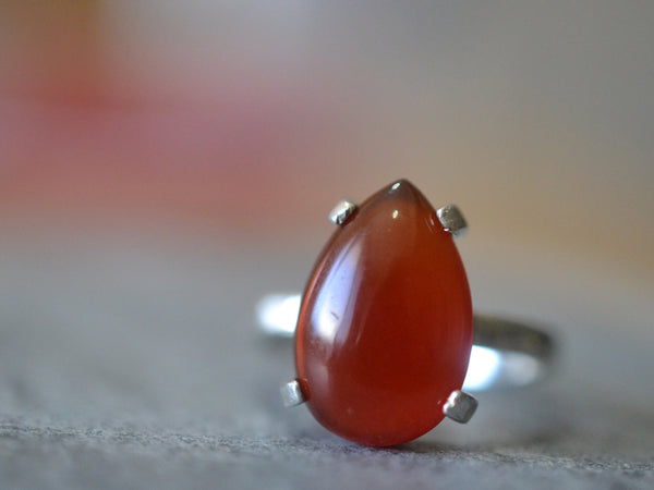 Sterling Silver Statement Ring With Teardrop Red Carnelian