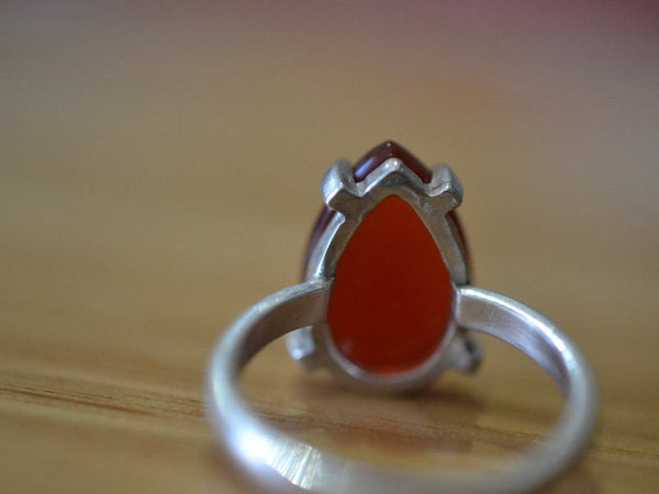 Women's Red Carnelian Gemstone Statement Ring in Silver