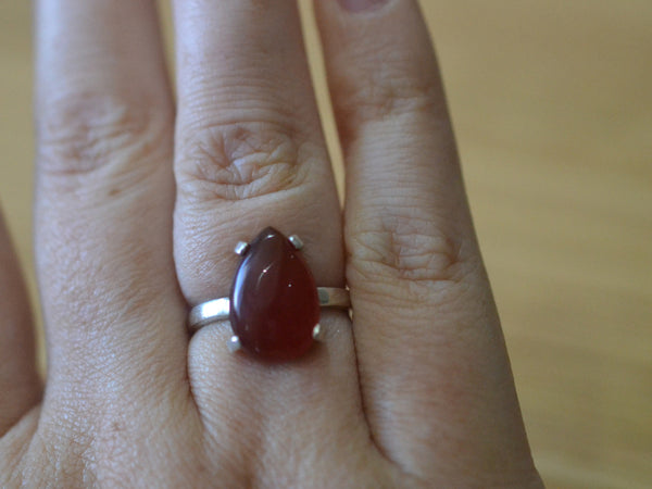 Unique Teardrop Red Carnelian Gemstone Ring in Sterling Silver
