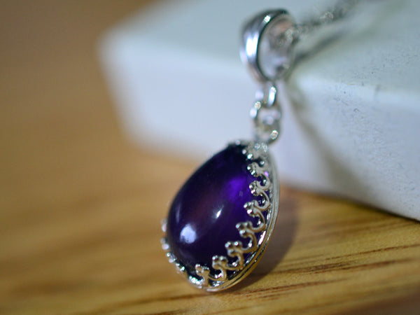 TeardroP Purple Amethyst Necklace with Sterling Silver Chain