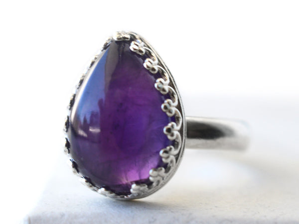 Teardrop African Amethyst Statement Ring in Silver