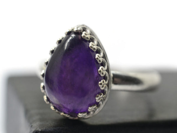 Handmade Pear Shaped African Amethyst Ring