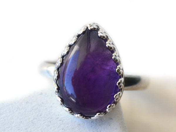 Pear Shaped African Amethyst Ring in Sterling Silver
