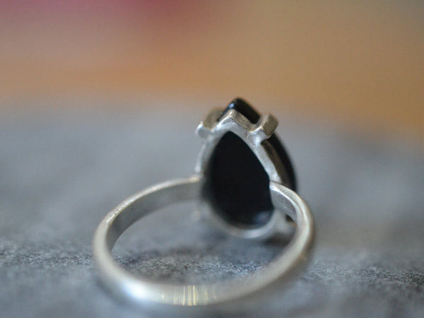 Sterling Silver Prong Set Black Onyx Statement Ring