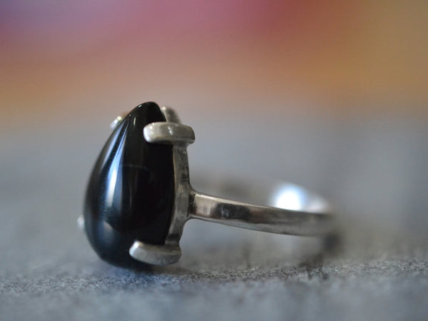 Women's Pear Shaped Black Onyx Ring in Sterling Silver