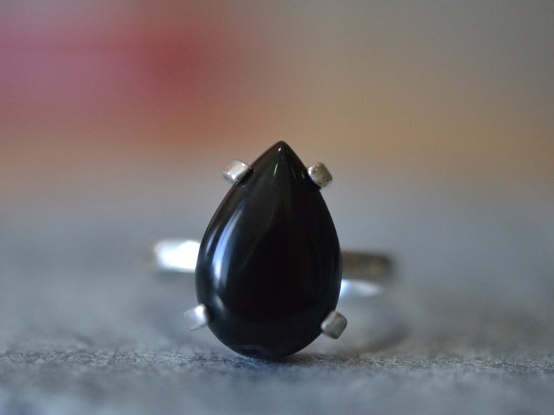 Classic Prong Set Black Onyx Gemstone Ring in Sterling Silver