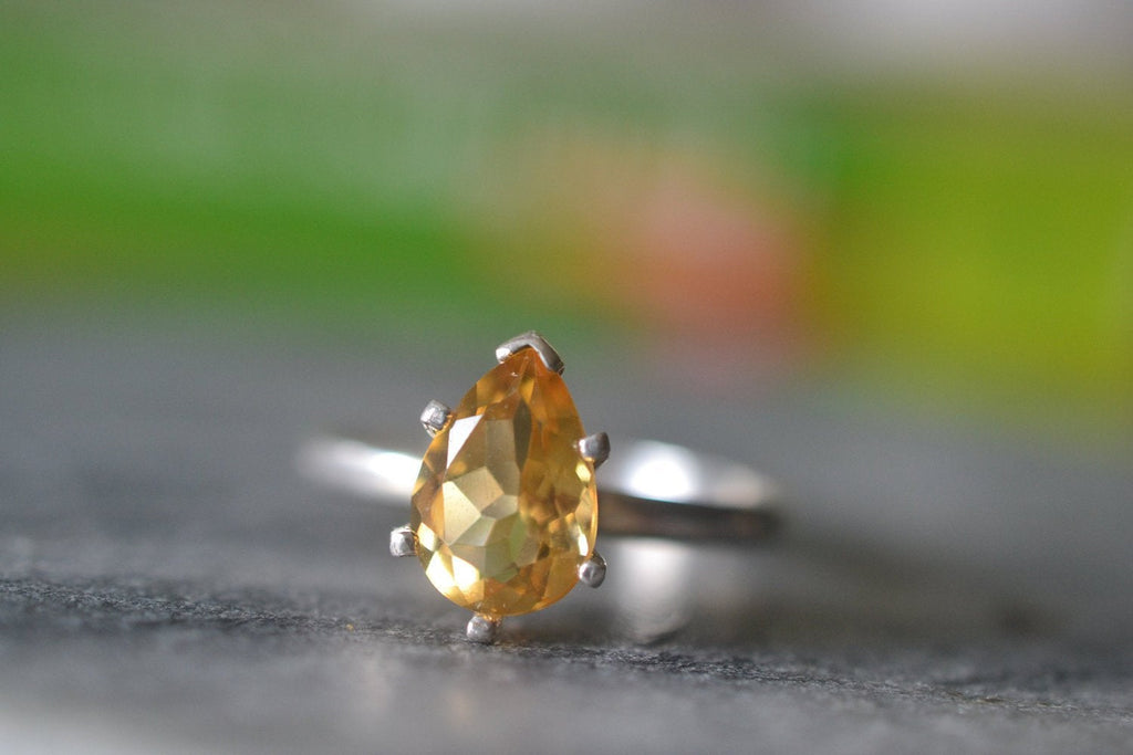 Handmade Pear Shape Citrine Engagement Ring in Sterling Silver