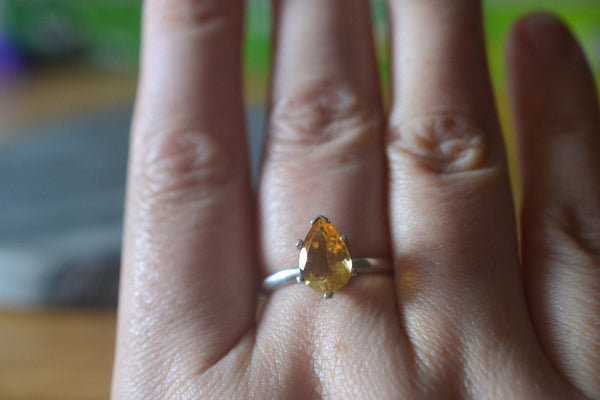 Handmade Women's Citrine Engagement Ring in Sterling Silver