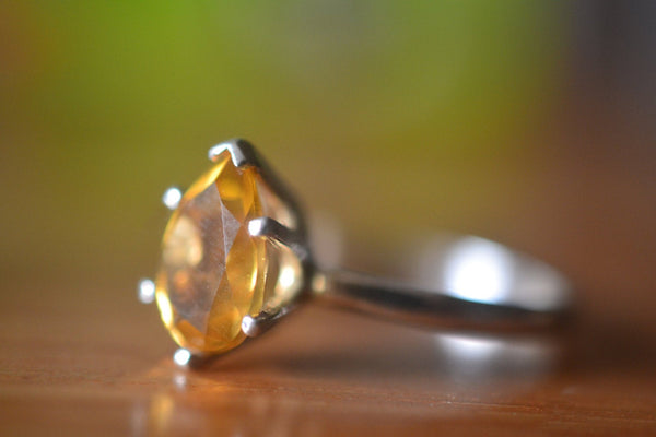 Women's Sterling Silver & Pear Shape Citrine Gemstone Ring