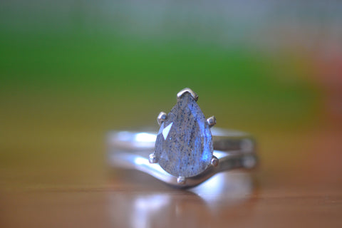 Teardrop Labradorite Bridal Ring Set in Sterling Silver