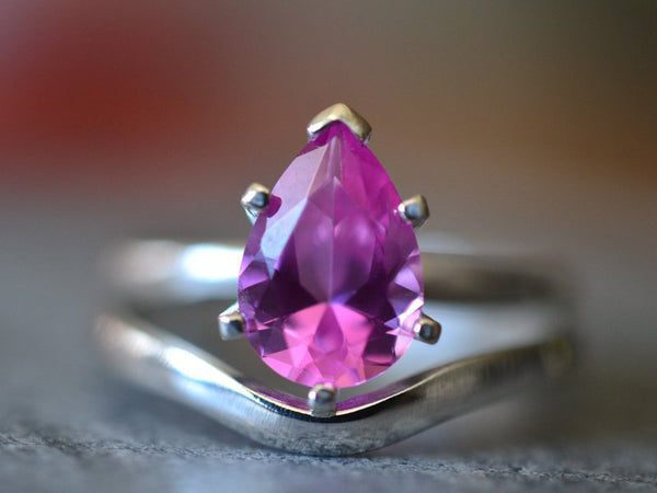 Teardrop Pink Sapphire Bridal Ring Set in Sterling Silver