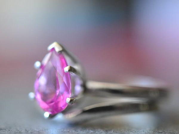 Unique Women's Pink Sapphire Wedding Ring Set in Silver