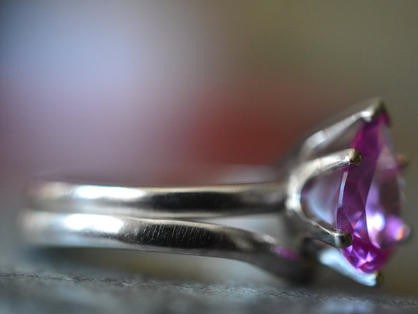 Personalised Pink Sapphire Bridal Ring Set in Sterling Silver