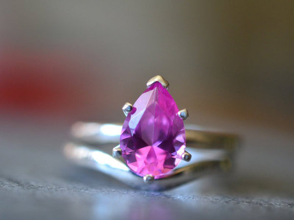 Teardrop Pink Sapphire Engagement Ring Set in Sterling Silver