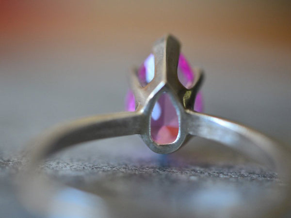Pear Shape Pink Sapphire Ring in Sterling Silver
