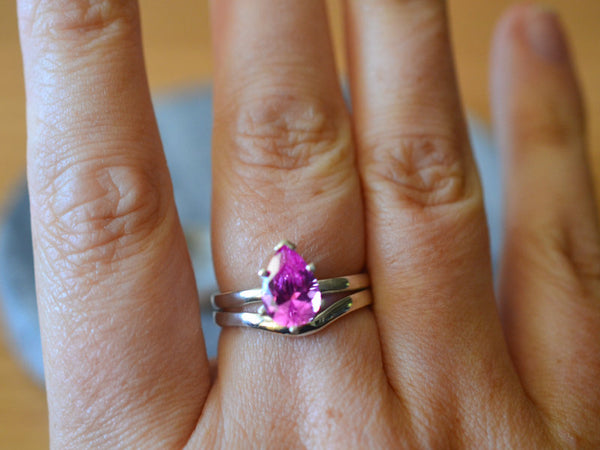 Women's Unique Pear Shape Pink Sapphire Bridal Ring Set in Silver