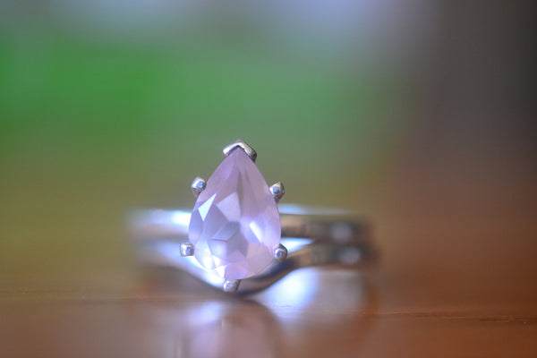 Womens Natural Pink Rose Quartz Crystal Wedding Ring Set