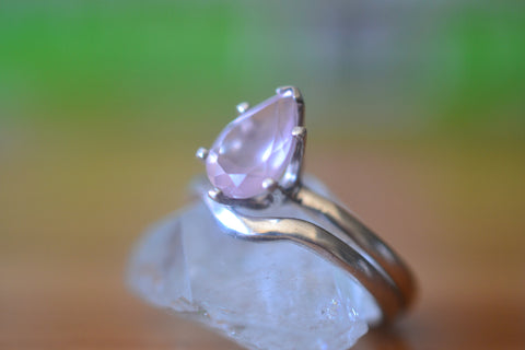 Women's Natural Rose Quartz Bridal Ring Set in Sterling Silver