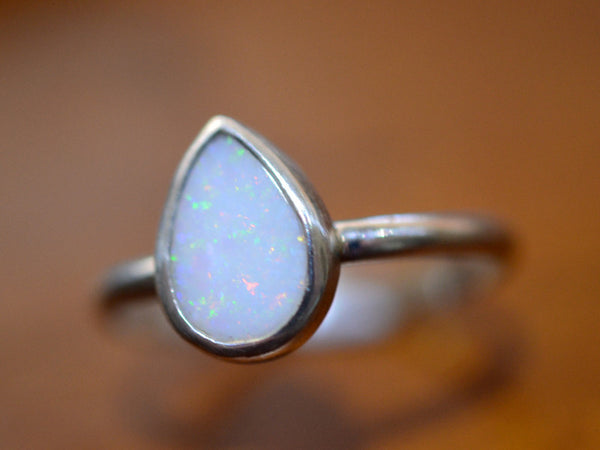 Pear Shaped White Opal Cocktail Ring in Sterling Silver