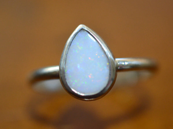 Teardrop White Opal Ring in Sterling Silver