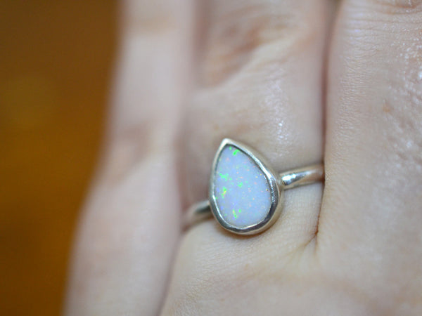 Handmade White Opal Teardrop Ring in Sterling Silver