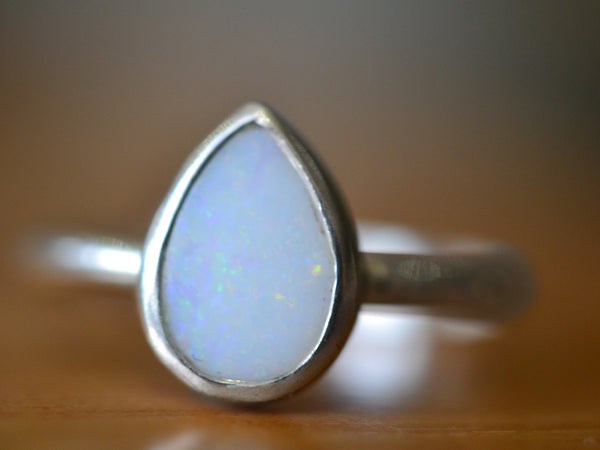 Sterling Silver & Natural Australian Opal Teardrop Ring