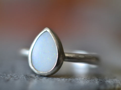 Solid White Opal Tear Ring in Sterling Silver