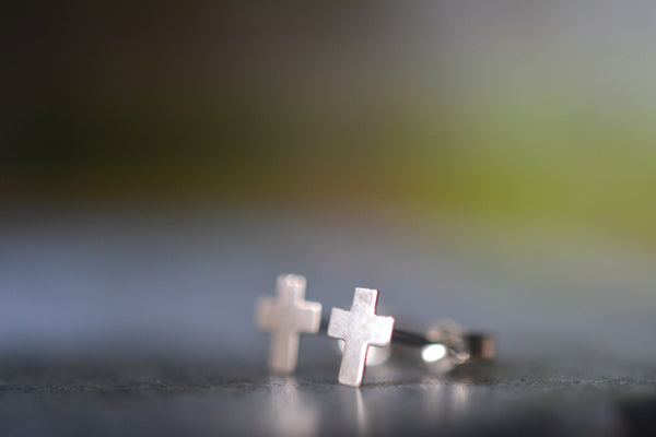 Handmade 14ct Yellow Gold Cross Studs