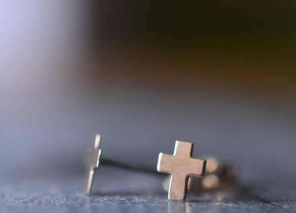 Dainty Little 14K Yellow Gold Cross Charm Earrings
