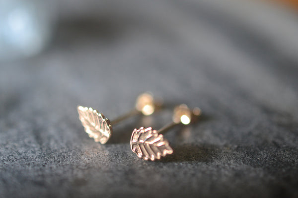 Dainty Little 14K Yellow Gold Leaf Stud Earrings