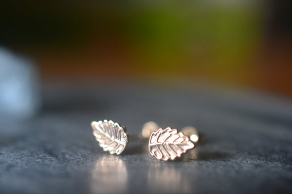 Minimalist 14K Yellow Gold Leaf Stud Earrings for Earlobe