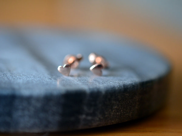 Minimalist 14ct Rose Gold Heart Stud Earrings