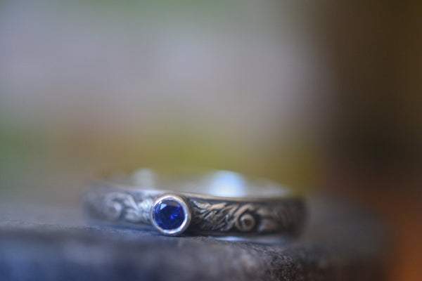 Tiny Blue Sapphire Wedding Band in Gothic Oxidised Silver