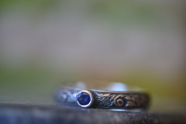 Gothic Oxidised Renaissance Style Ring With Tiny Blue Sapphire