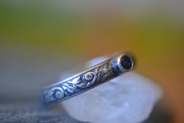 Gothic Oxidised Silver Thistle Ring With 3mm Blue Sapphire