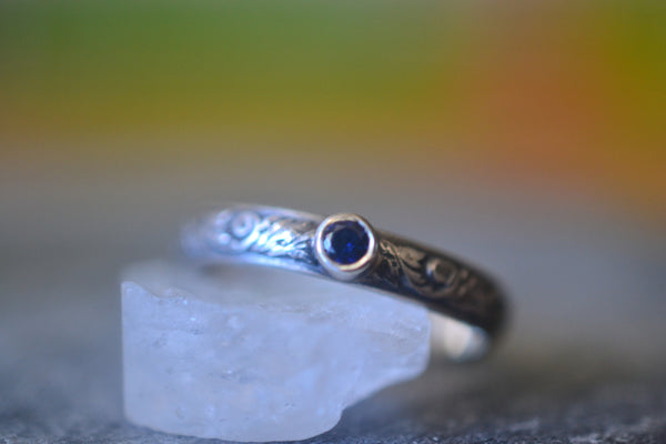 Gothic Oxidised Silver Wedding Band With Blue Sapphire Stone